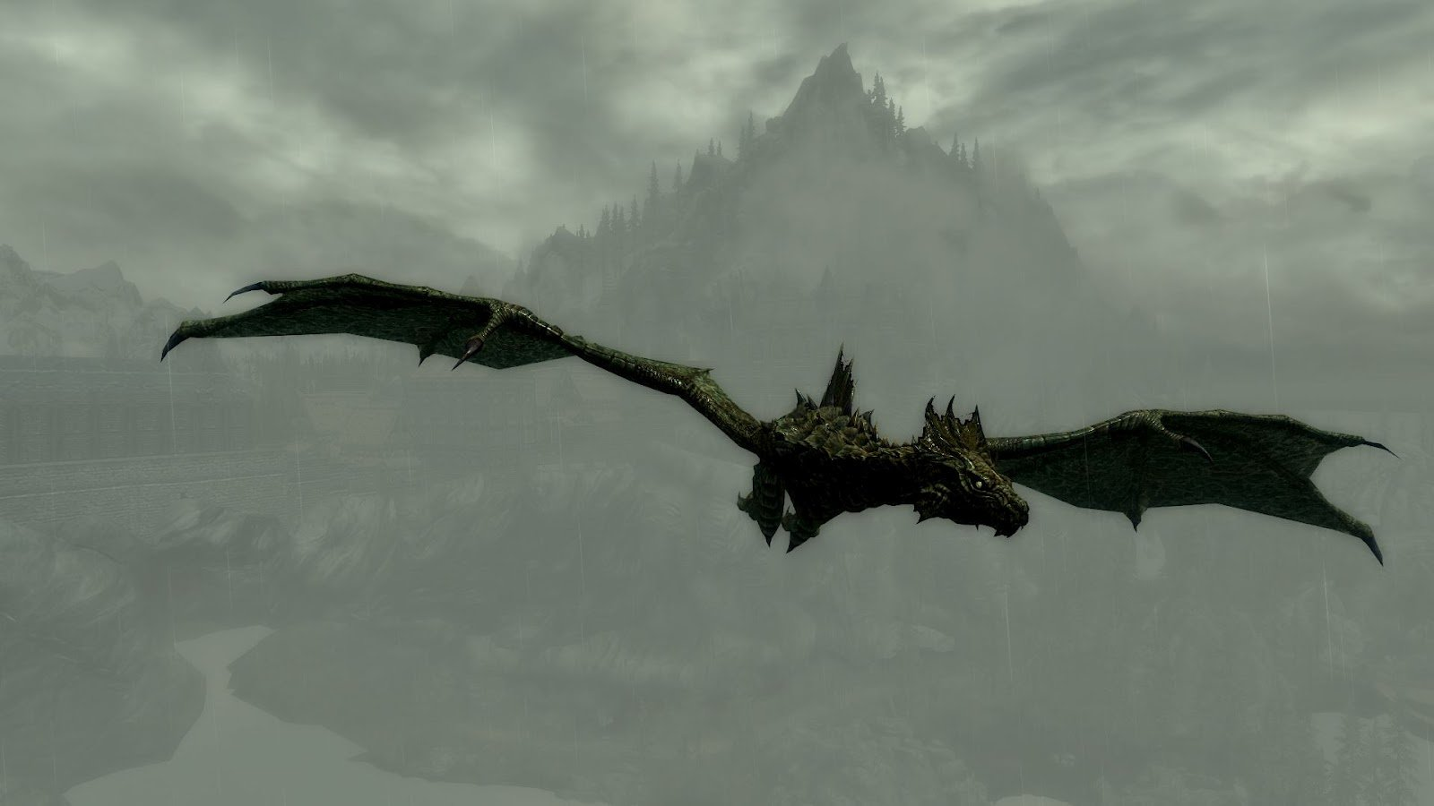 Elder Scrolls VSkyrim Flying Dragon HD Wallpaper 1600x900