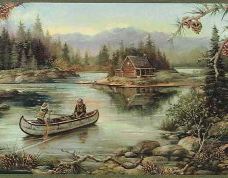 comcabin fishing pinecone peek through wallpaper border 736x576