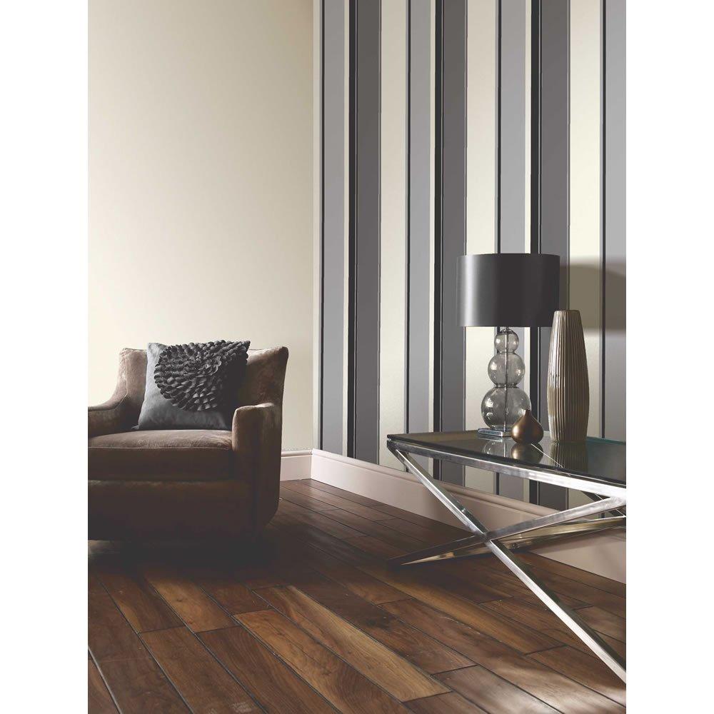 Carina Striped Feature Wallpaper Black Grey White Stripe eBay 1000x1000
