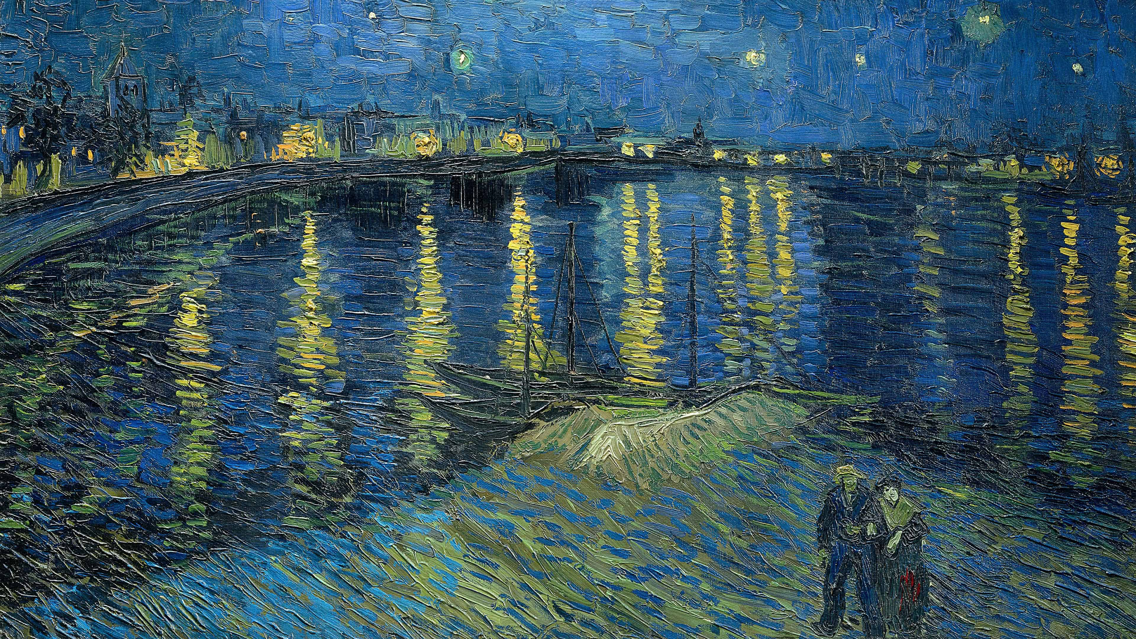 The Starry Night Painting By Vincent Van Gogh UHD 4K Wallpaper 3840x2160