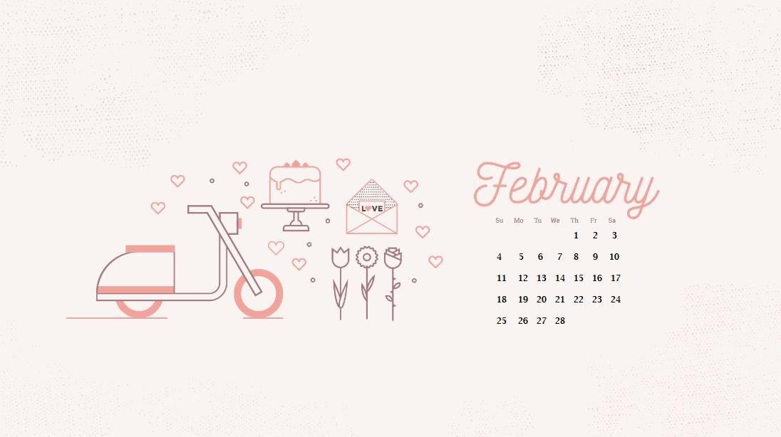 February 2018 HD Calendar Calendar 2018 1096x614
