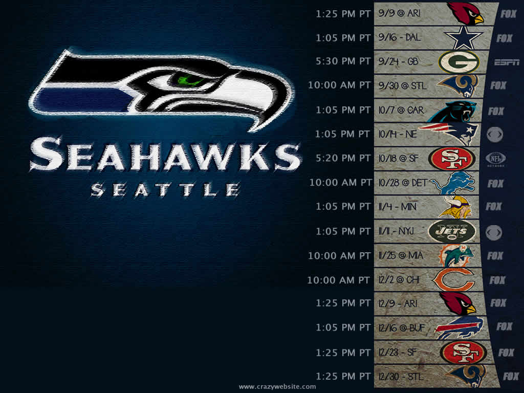 This is a graphic of Witty Seattle Seahawks Schedule 2020 Printable Pacific Time