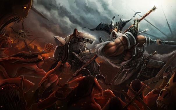 Diablo 3 art barbarian demons battle weapons and huge ax a field 605x380