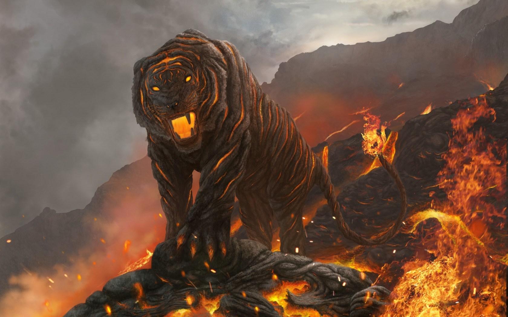 art tiger lava fire mountain fantasy 1680x1050