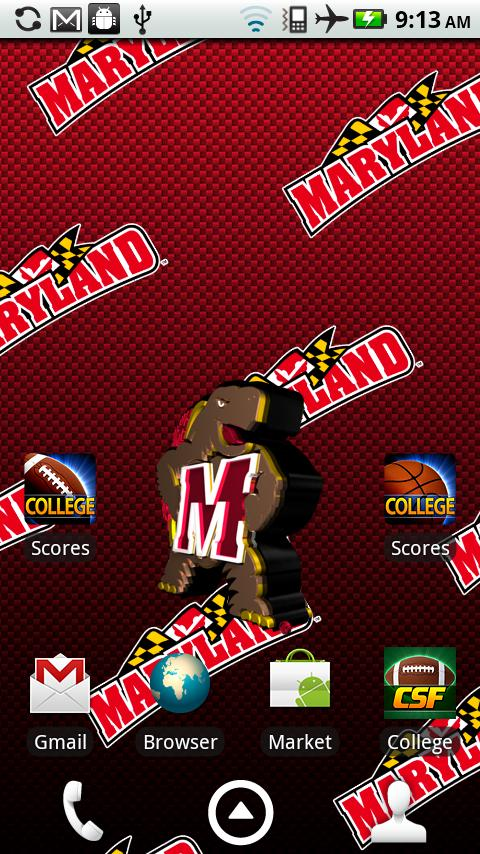 Officially licensed University of Maryland Terrapins Live Wallpaper 480x854