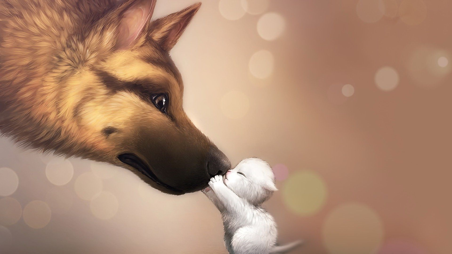 Download hd wallpapers of 840 anime Bokeh Artwork Dog Cat 1920x1080