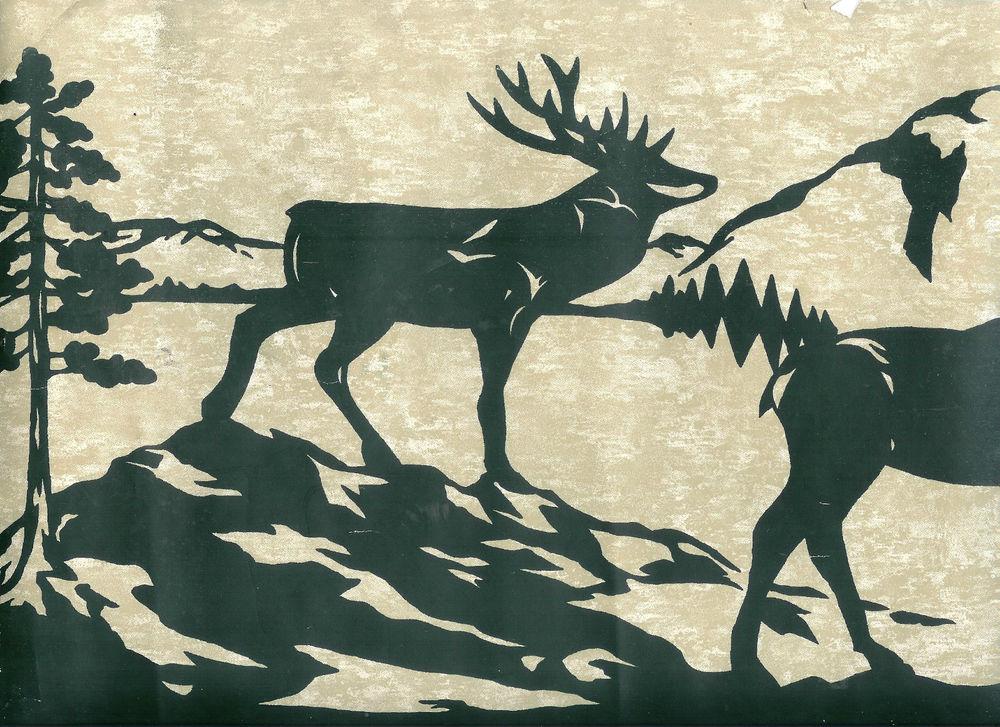 Dark Green Deer Moose and Bear Silhouettes Wallpaper Border eBay 1000x727