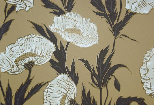 White and Gold Wallpaper Poppy Wallpaper 534x366