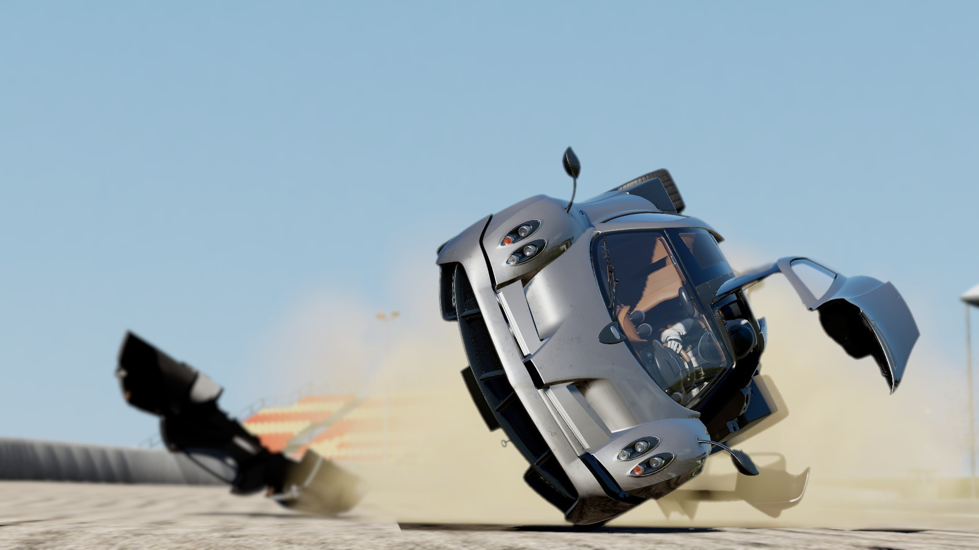 Huayra Crash Accident wreck racing supercars wallpaper background 1920x1080