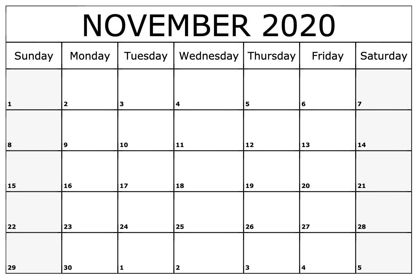November 2020 Calendar Printable Template Printable calendar 1406x931