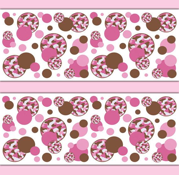 PINK CAMO POLKA Dot Wallpaper Border Decal Girl Camouflage Nursery 570x557