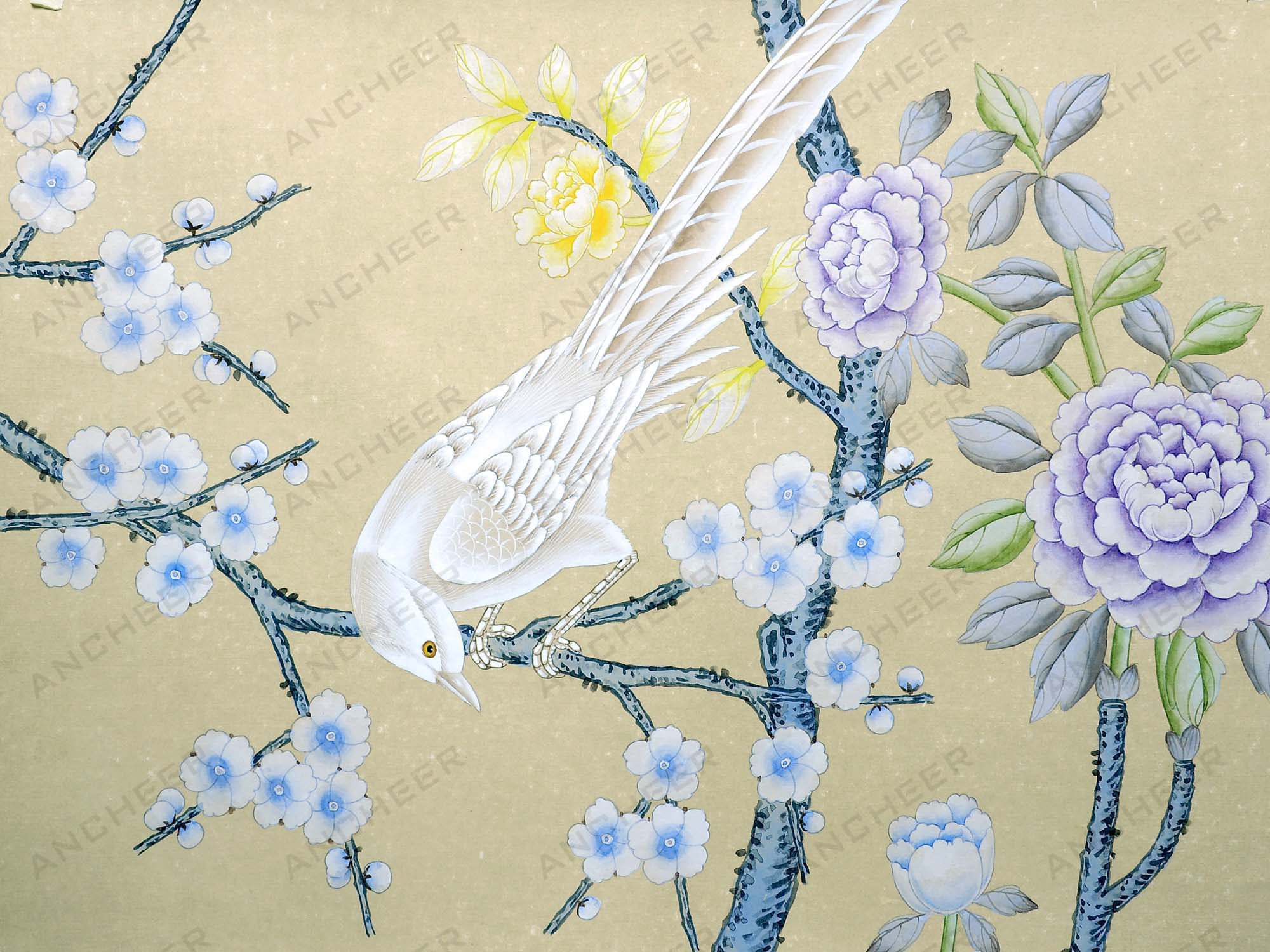 hand painted wallpaper Chinoiserie wallpaper 2000x1500