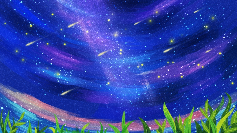 Deep Blue Sky Aerial Shooting Star Cartoon Background Grassland 960x541