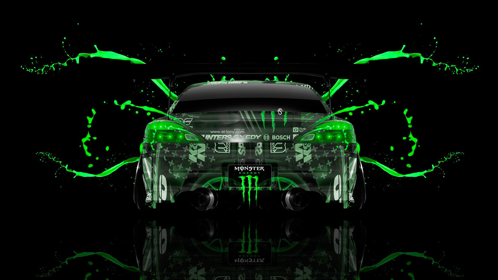 Monster Energy Nissan Silvia S15 JDM Back Green Live Colors Car 2014 1920x1080