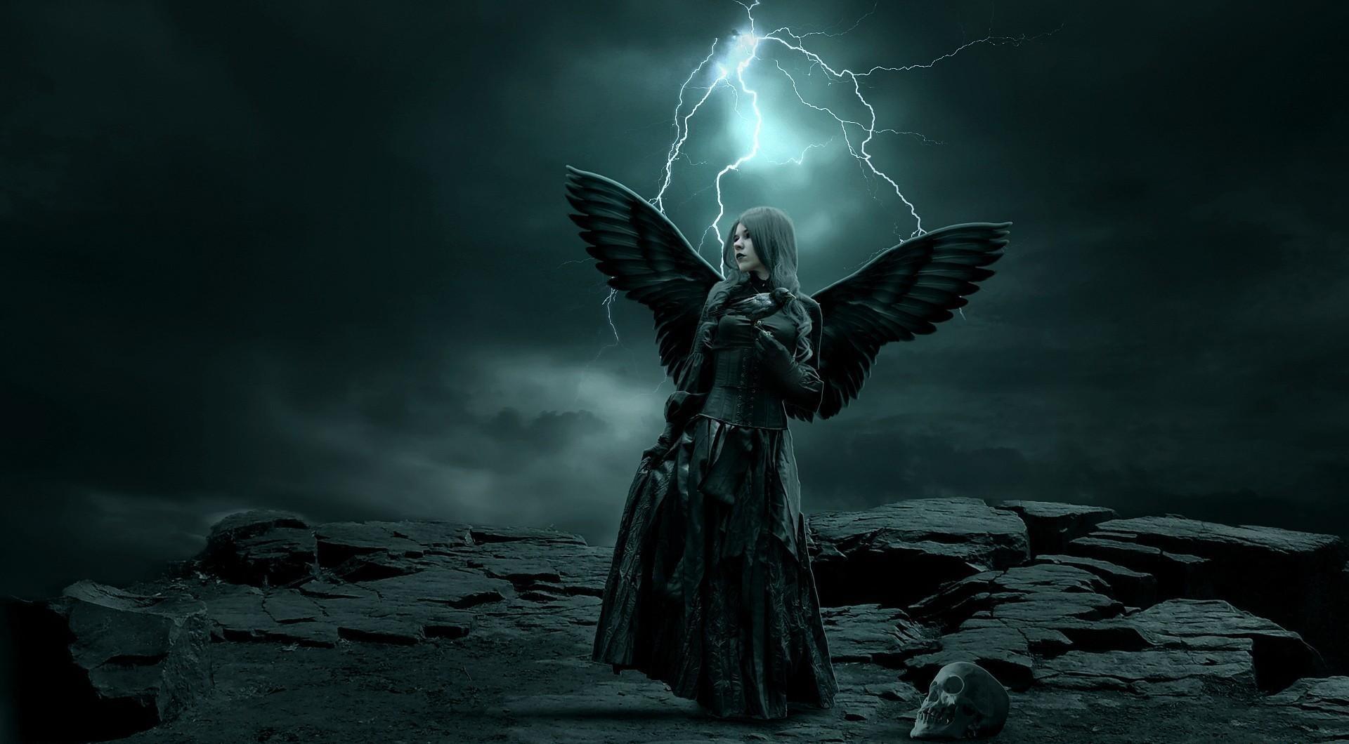 gothic angel women skull cg digital art lightning storm wallpaper 1920x1060