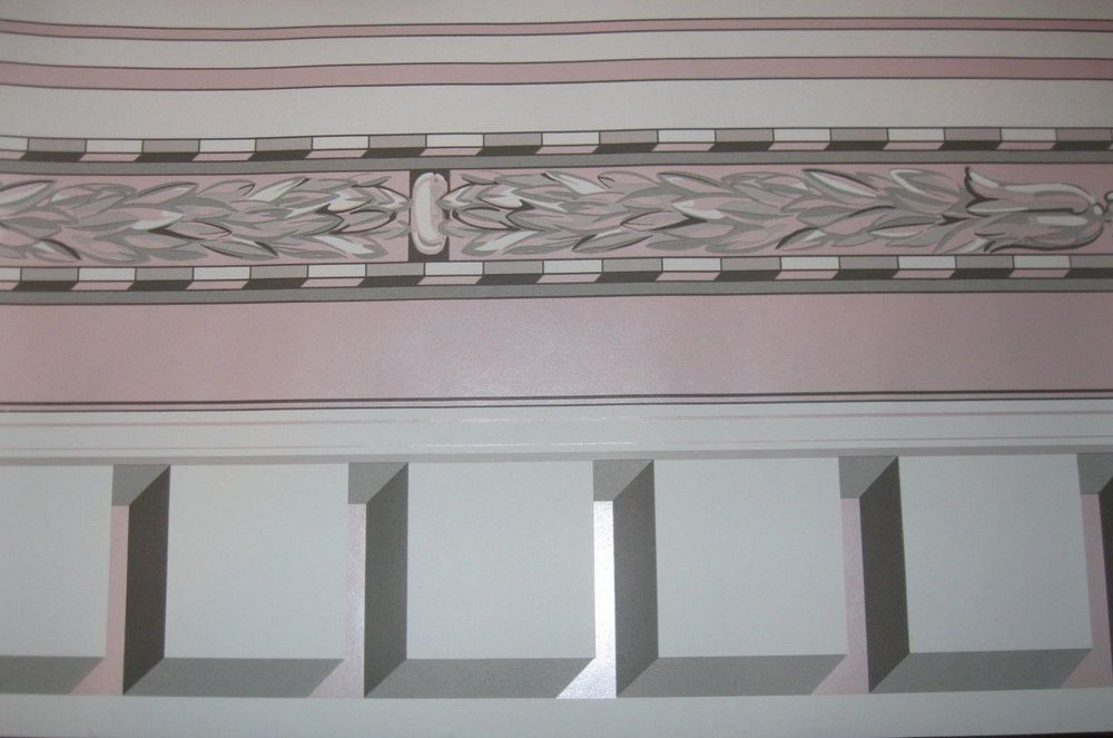 Art Deco Pink Black Grey White Tassel Trim Wallpaper Border 551369 1000x663