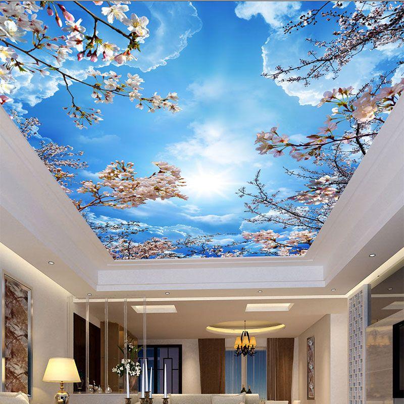Cielo Azul Nubes Blancas flores de Cerezo romntico Foto Wallpaper 800x800