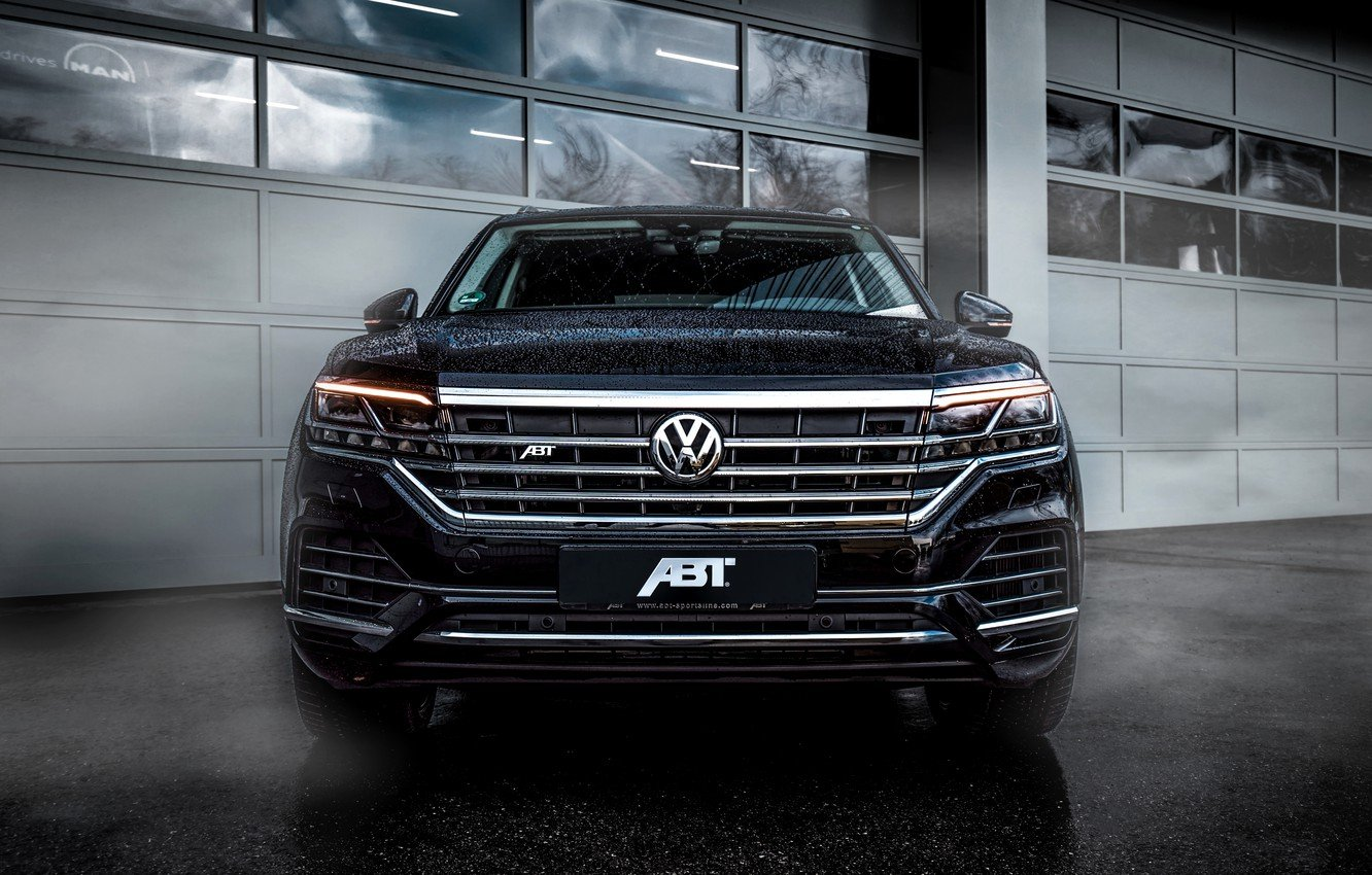 Wallpaper Volkswagen front view Touareg SUV ABBOT 2019 images 1332x850