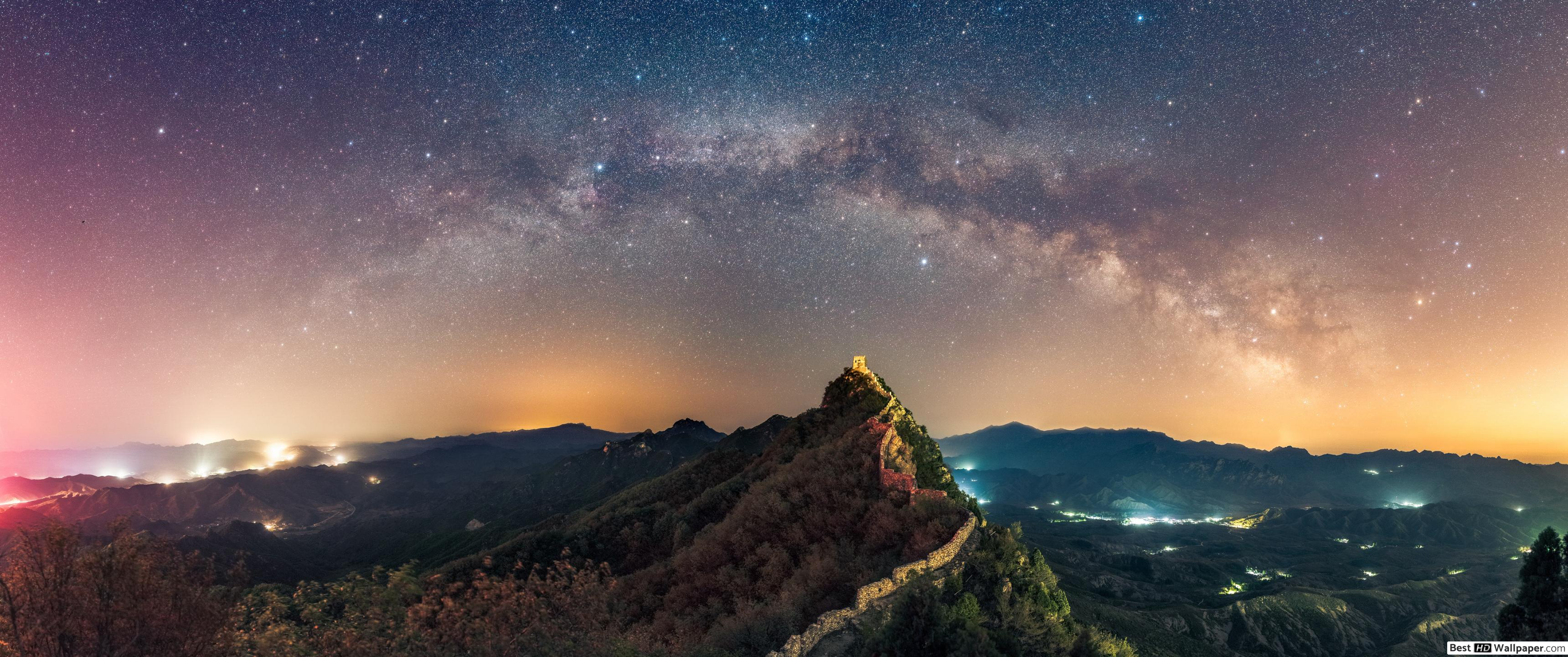 Starry night at the Great Wall of China HD wallpaper download 3440x1440