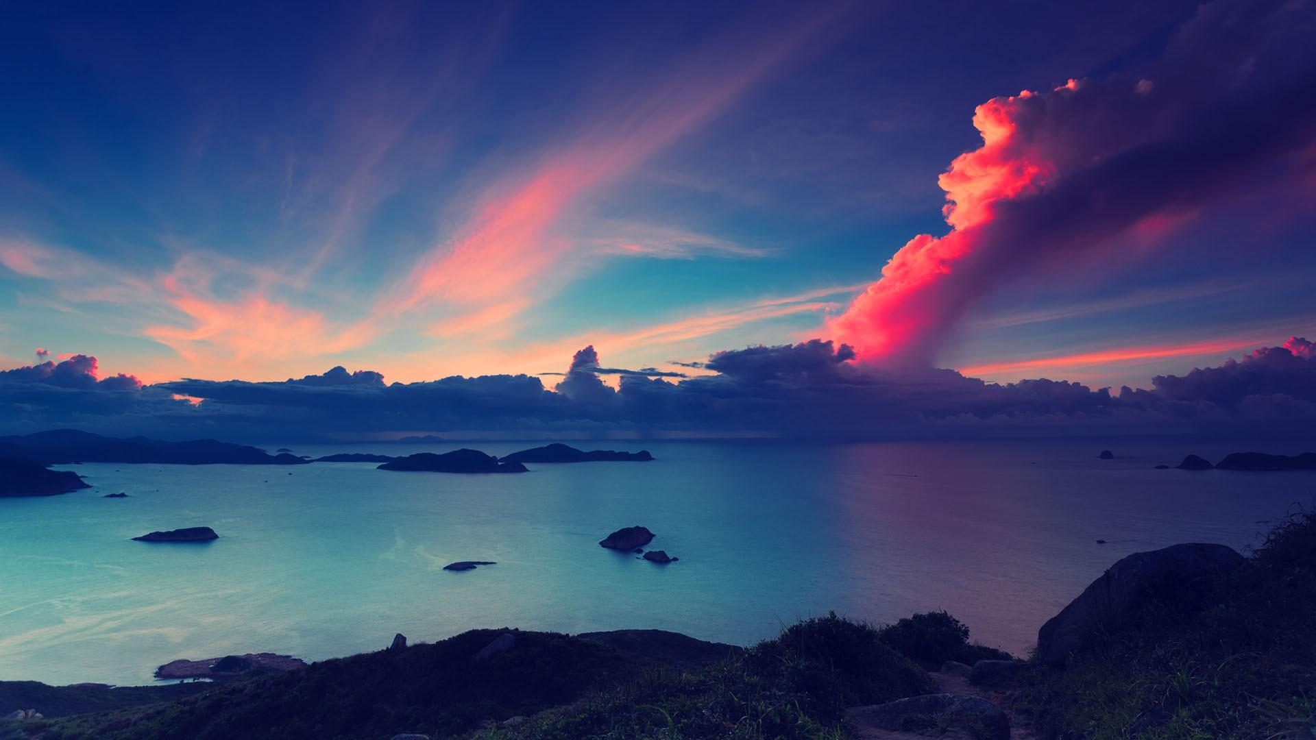 розовый закат, море, горы  № 3110133  скачать