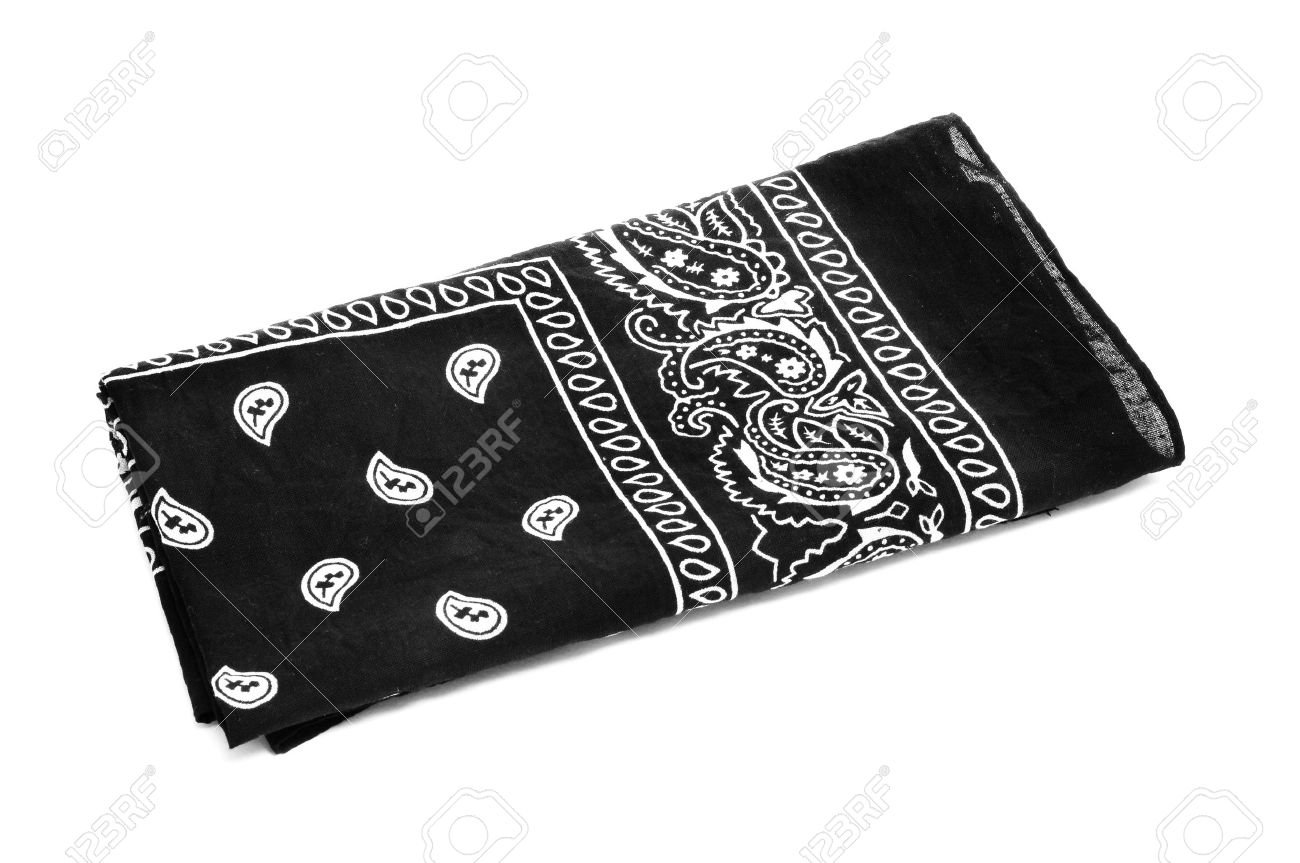 Paisley Patterned Black Black Bandana Handkerchief On A White 1300x863