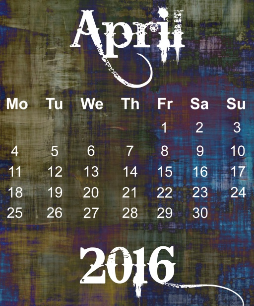 April 2016 Grunge Calendar Stock Photo   Public Domain Pictures 512x615