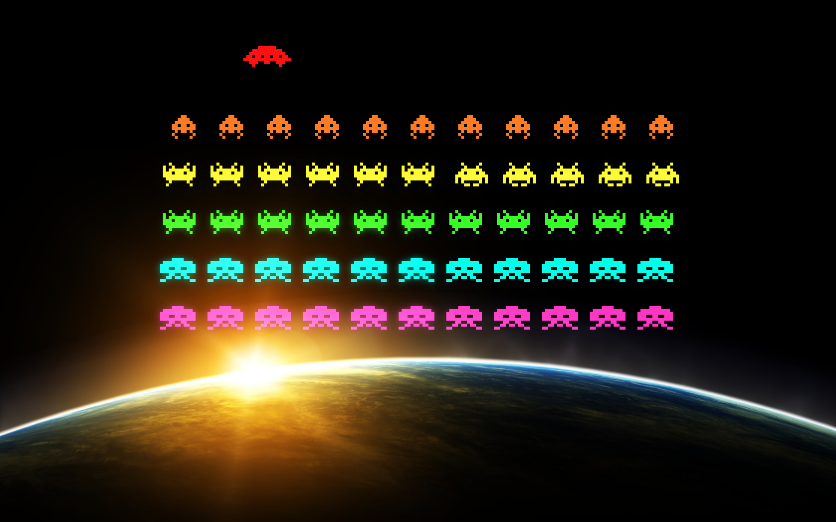 invaders retro games video best widescreen background HD Wallpaper 1680x1050