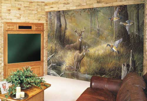Hunting wallpaper for home wallpapersafari for Deer mural wallpaper
