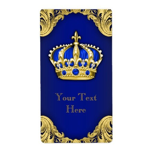 Royal Blue and Gold Prince Crown Wine Bottle Label Zazzle 512x512