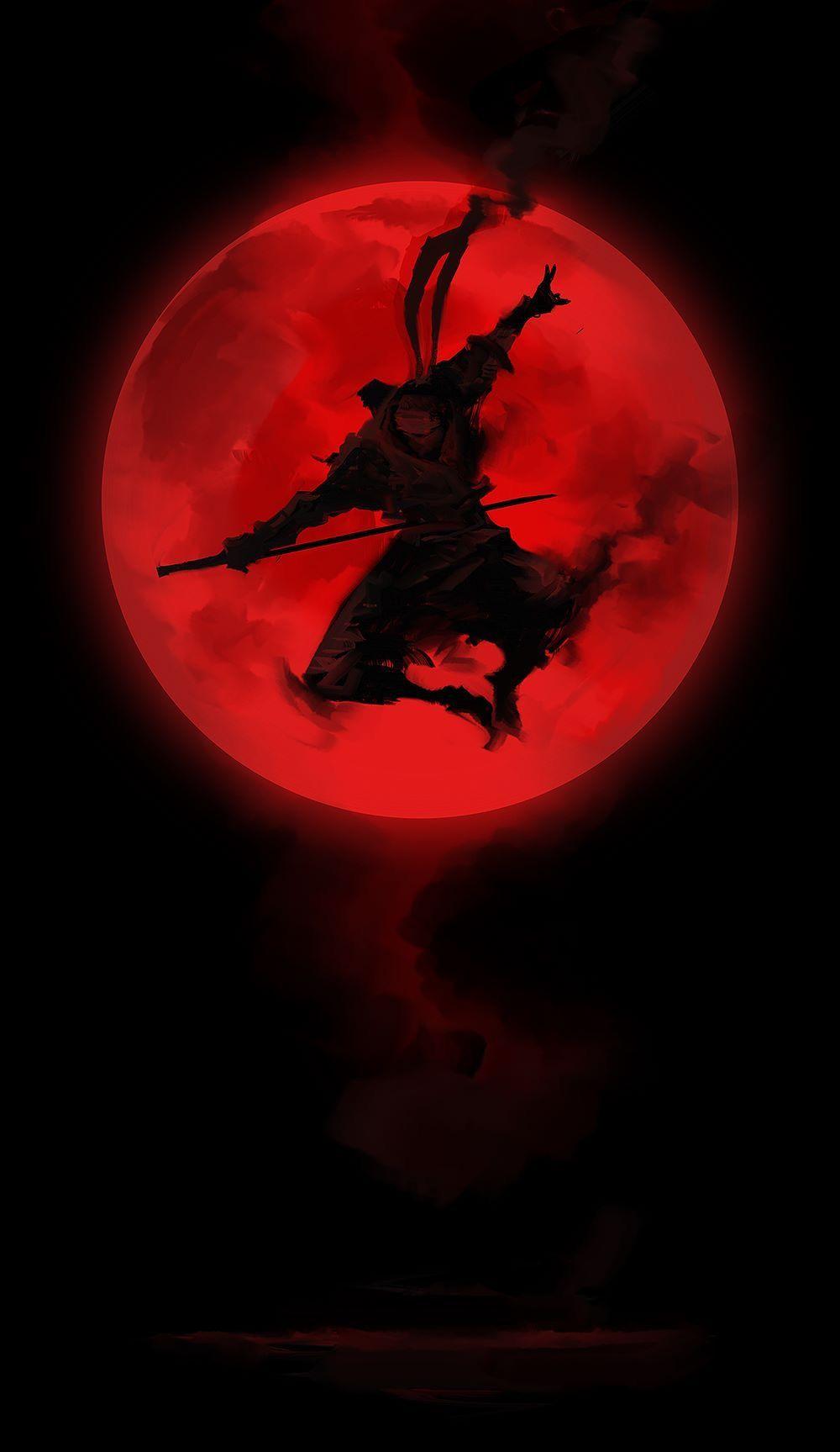 Black toned red Ninja wallpaper Ninja art Samurai art 1000x1727
