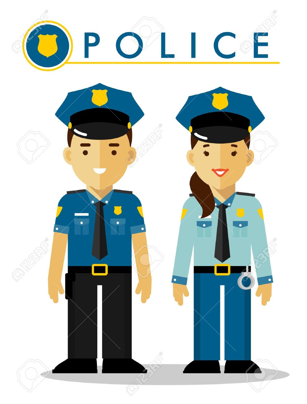 Policeman And Policewoman Officer Standing On White Background 988x1300