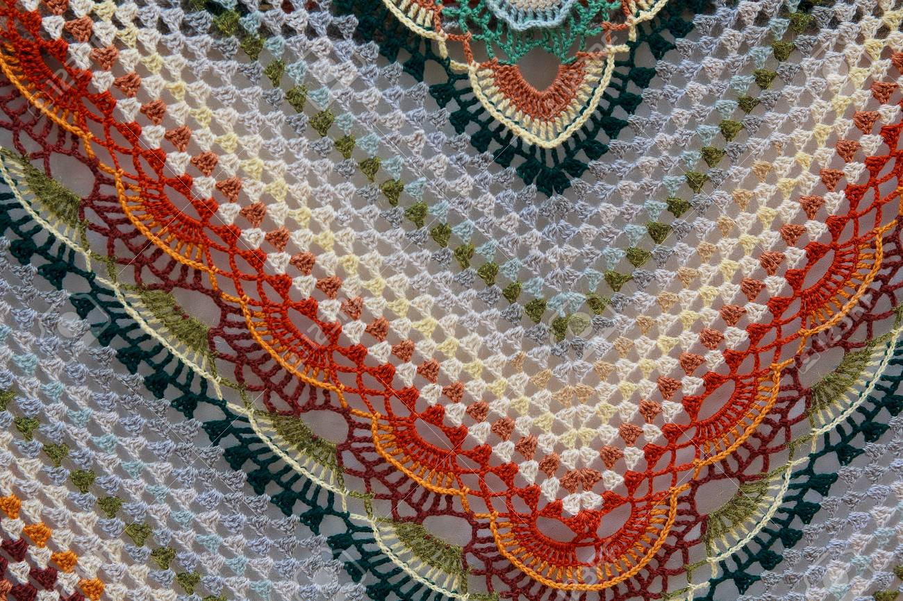 Multicolored Knitted Woolen Shawl Backgrounds And Textures Stock 1300x866