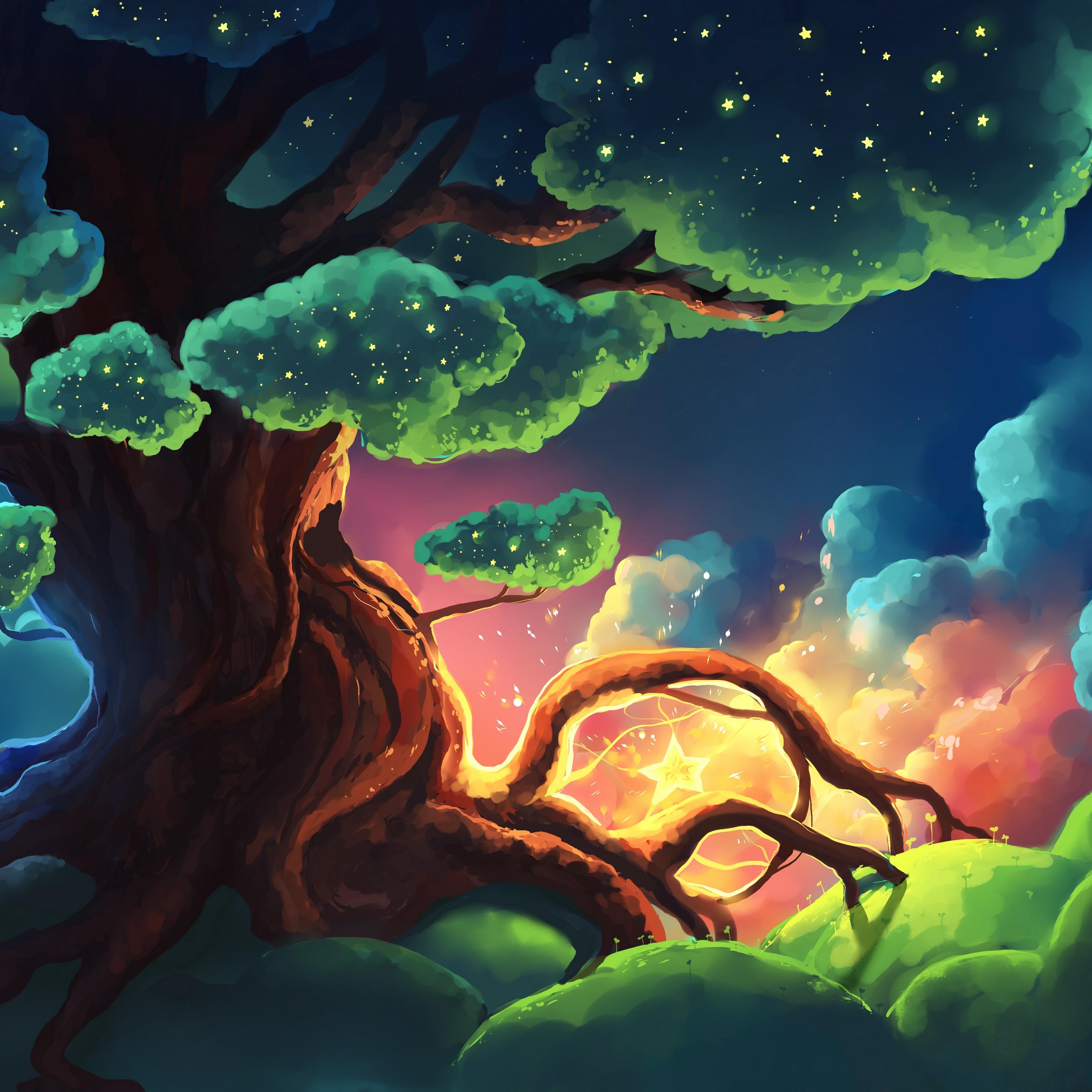 Download wallpaper 2780x2780 tree stars glow night art ipad 2780x2780