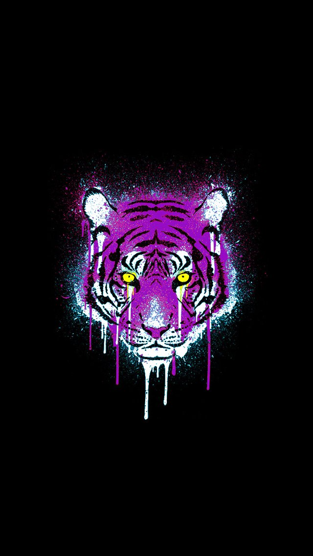 Purple and Gold Tiger iPhone 5 Wallpaper 640x1136 640x1136