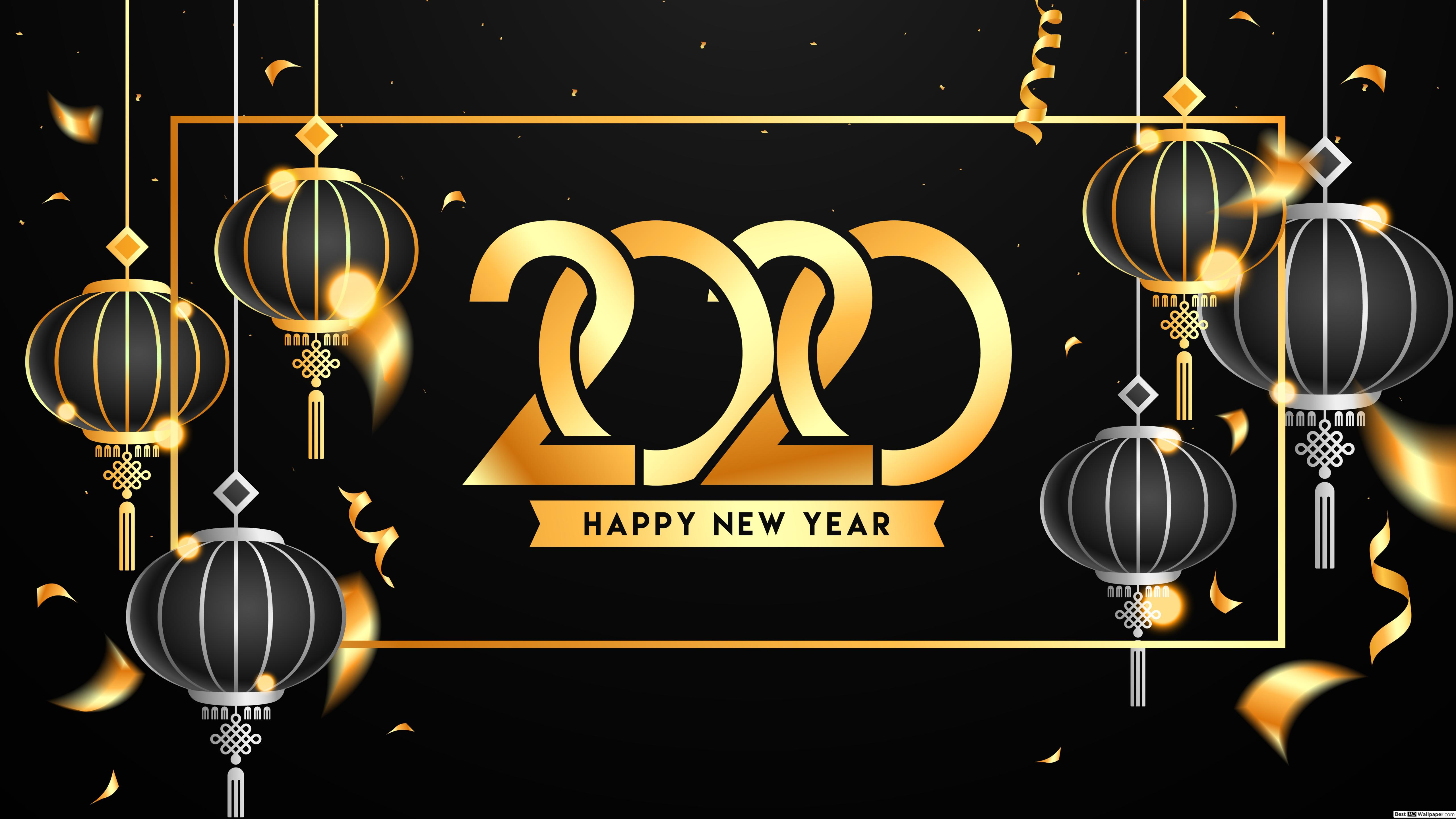 Year 2020 with gold and black chinese lanterns decorations HD 5120x2880