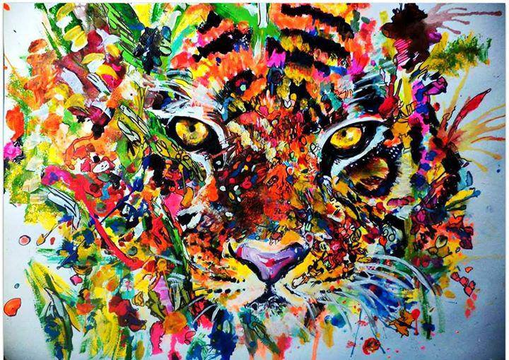 cute drawing hipster paint picture tiger wallpaper wonderful 720x509