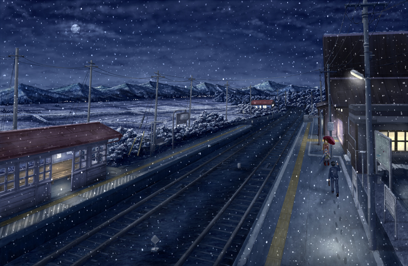 Free Download Train Station Anime Hd Wallpaper Background