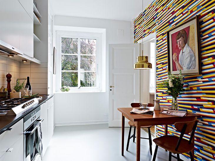 Kitchen with crazy wallpaper Home   Walls Artwork Pinterest 730x548