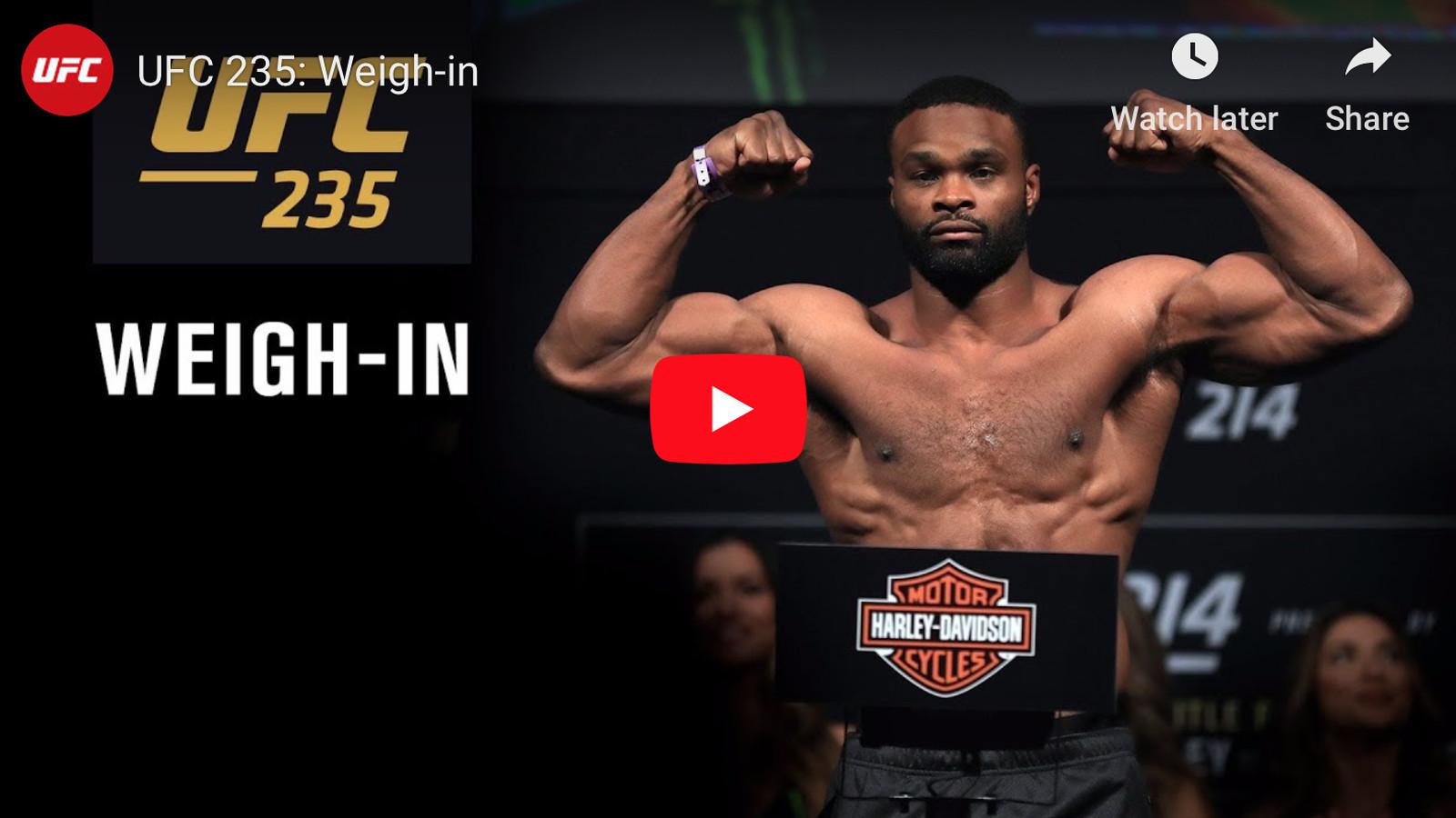 Live UFC 235 ceremonial weigh in video for Jones vs Smith in 1600x900