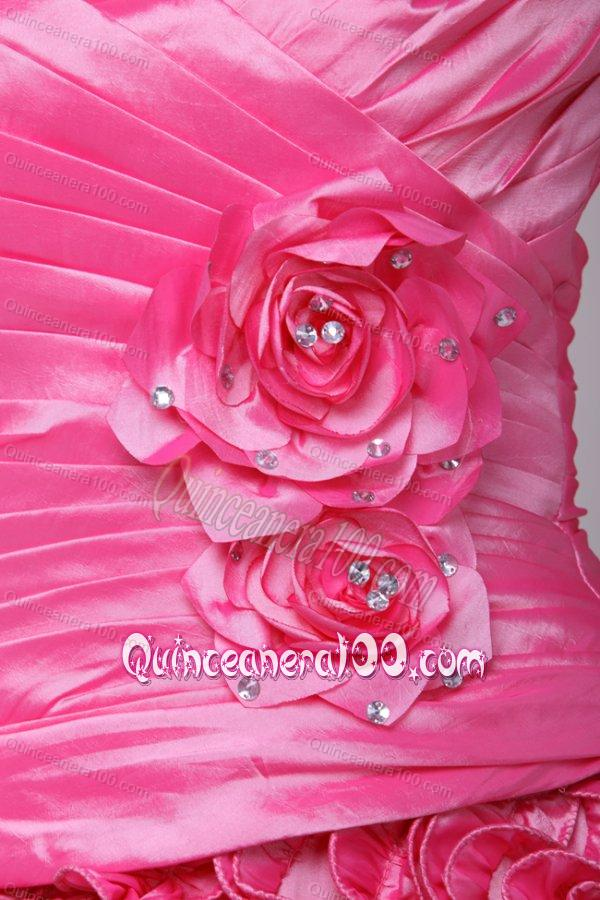one shoulder pink quinceanera dresses   images   dressesphotoscom 600x900