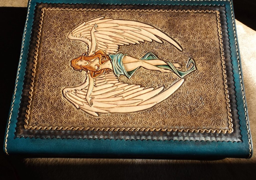 Cross angel Leather tooled book by CreationsMJF 1024x718