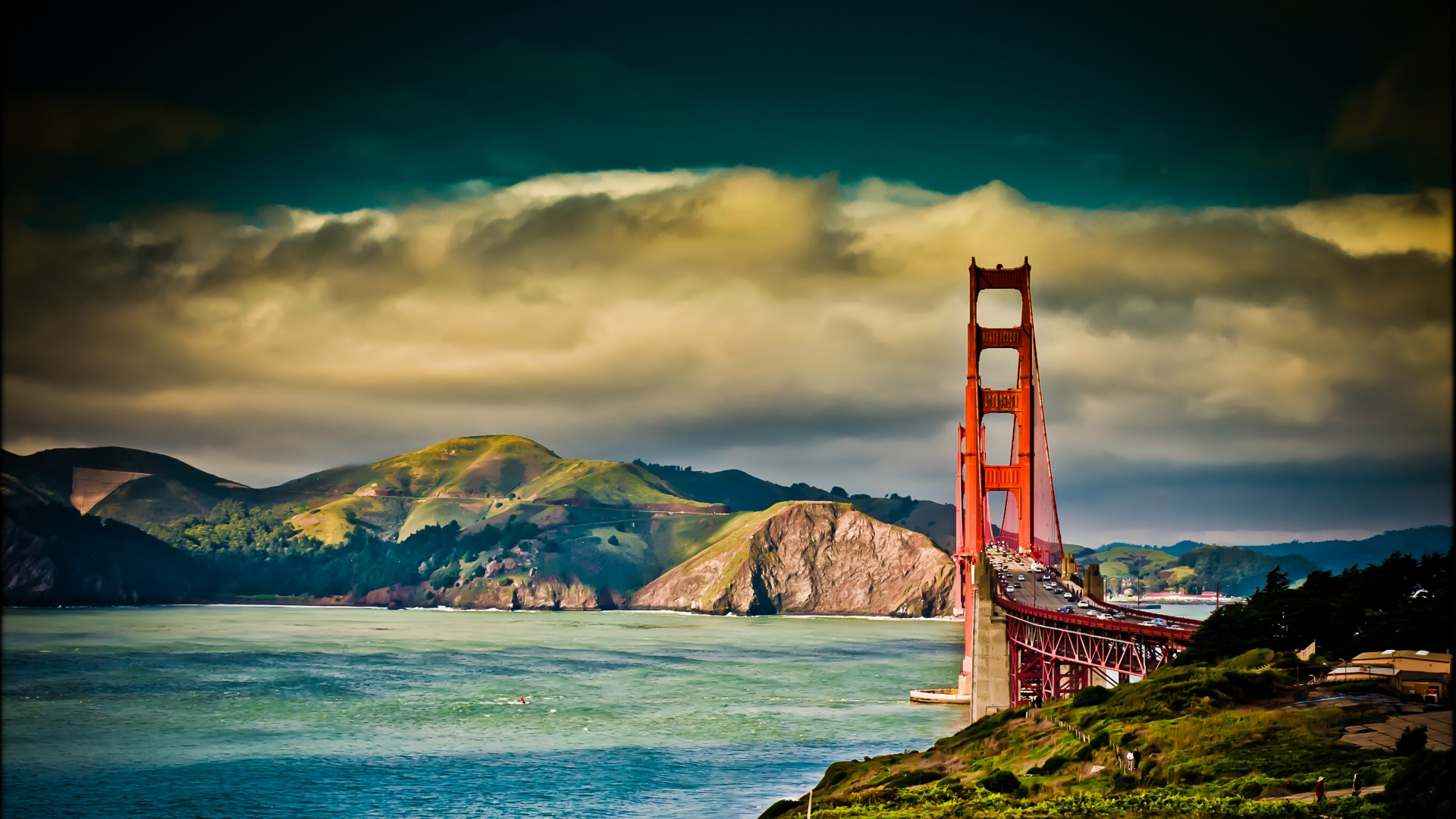 1920x1080 Wallpaper san   francisco bridge sky river cloudy 1920x1080