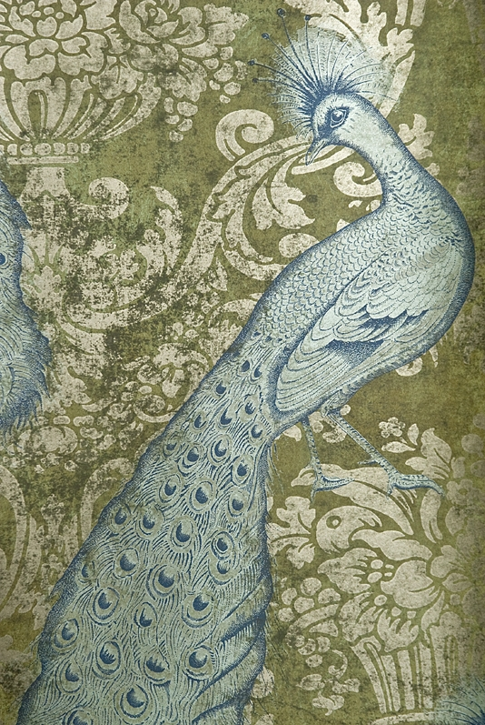 green damask wallpaper with gold motif and metallic sky blue peacocks 534x797