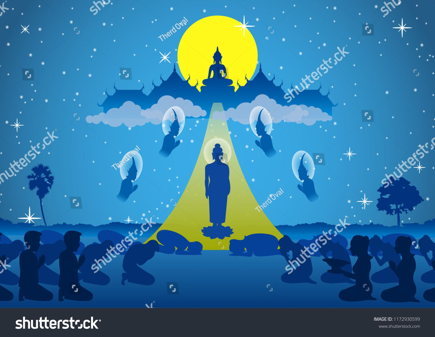 lord of buddha walk down from heaven that for visit and teach his 1500x1161