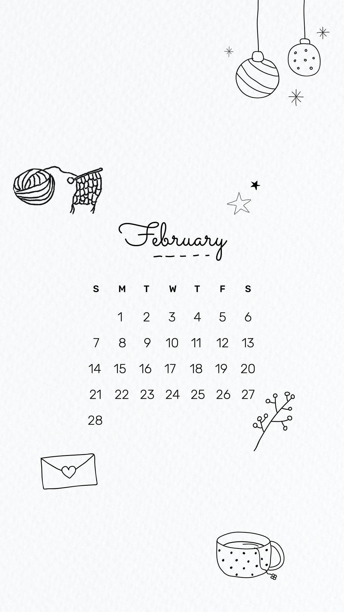 February 2021 mobile wallpaper vector template cute doodle drawing