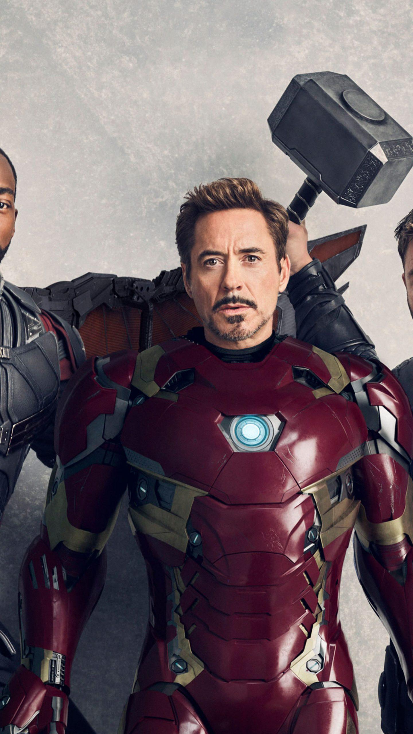Avengers Infinity War Falcon Ironman Thor 4K Wallpaper   Best 1440x2560