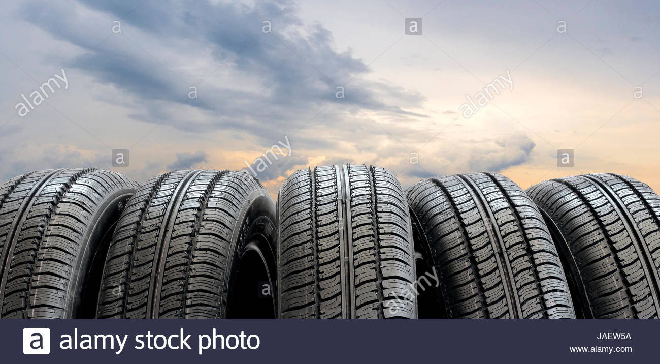 Set of tires on the background of blue sky Stock Photo 144156582 1300x716