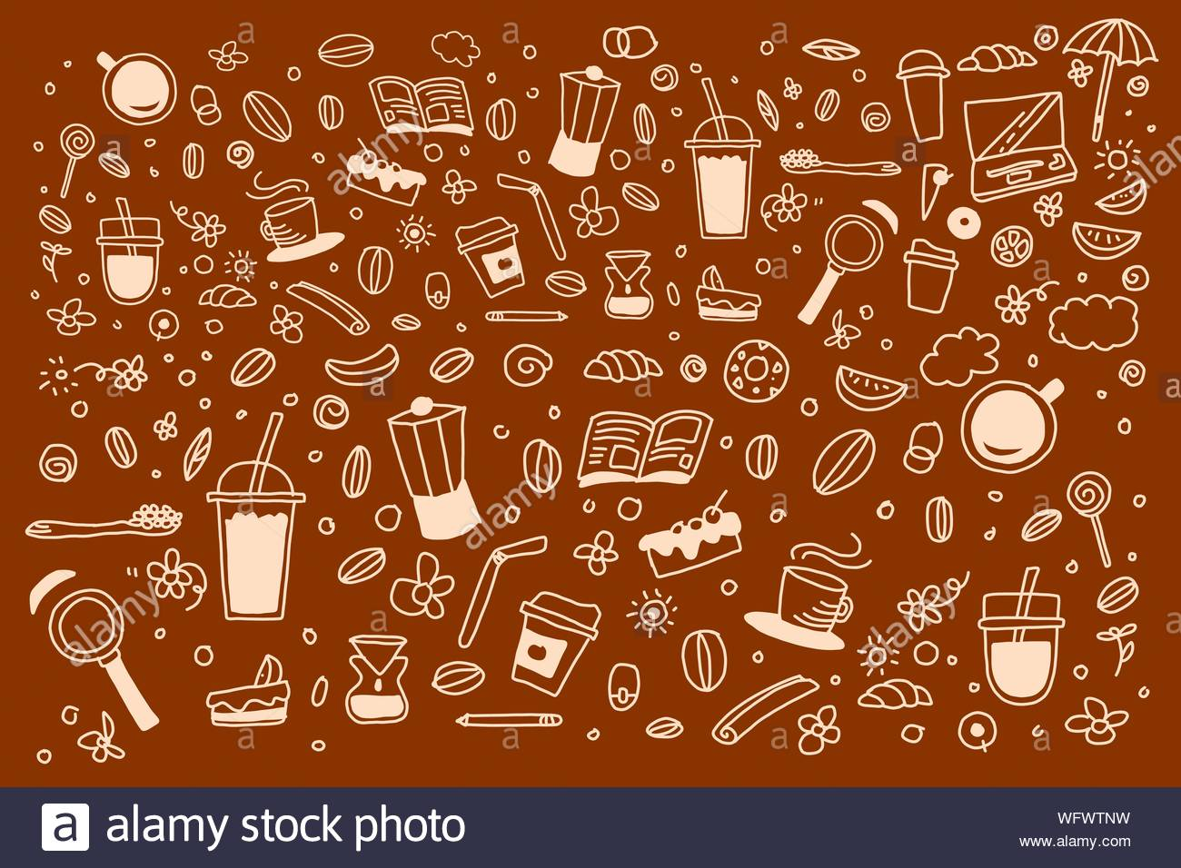 Doodle coffee with brown background drawing line art about cafe 1300x956