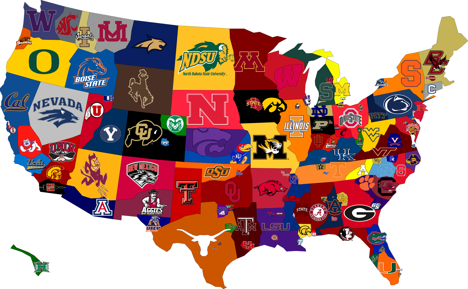 College Football Fan Map Of USA 1600x989