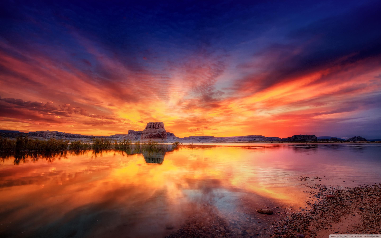 закат, скалы, озеро  № 661833  скачать